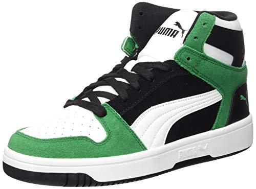 PUMA Rebound Layup SD, Zapatillas Unisex Adulto, Negro Black White/Amazon Green, 46 EU