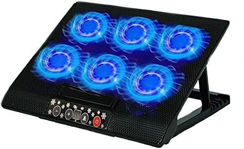 TECHVIDA Enfriador para Laptop de Juegos, Seis Ventiladores Silenciosos y Pantalla LCD,Viento de Gran Velocidad, Interruptor...