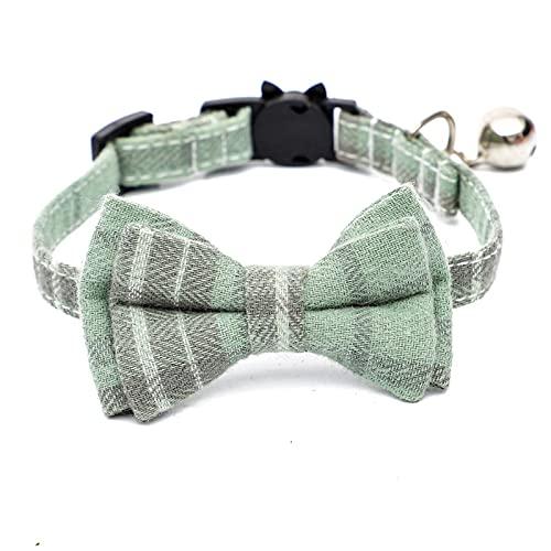 DHZYY Collar de Gato, Collar de Perro, con Collar de Gato de Campana, for Gatos y Perros pequeños, Accesorios de Gatito Products Pet (Color : Green)