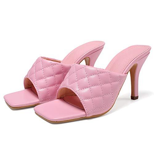 Mujer Mulas Sandalias Tacón Alto Punta Abierta Cuero Artificial Moda Verano Trabajo Zapatos,Rosado,37