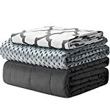 YnM Weighted Blanket and Duvet Covers — Hot and Cold Duvet Cover Set (3 Pieces) — (Lattice Scroll, 60''x80'' 18lbs), Suit for One Person(~170lb) Use on Queen/King Bed