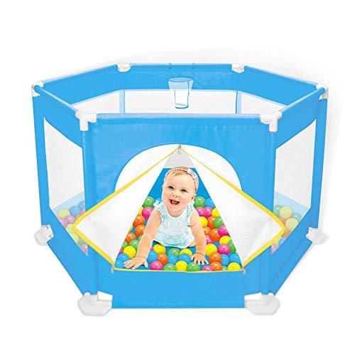 Vitila 11 sq ft BlauKinder Laufgitter mit Atmungsaktivem Netz,6 eckig Adam Und Eule Laufgitter für Babys Kleinkind Neugeborene Indoor Und Outdoor Spielen