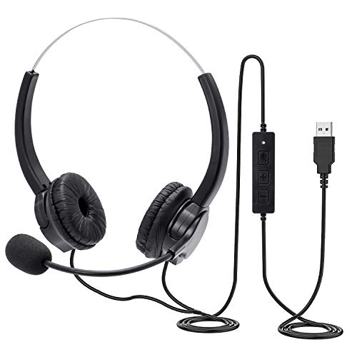 USB Headset, PC Headset mit Mikrofon Noise Cancelling & Lautstärkeregler, Computer Chat Headset für Skype, Ultra-komfortabel, kabelgebundenes Headset für Büro, Callcenter, Online-Kurse