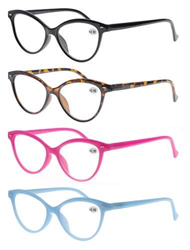 MODFANS Confezione da 4 Occhiali da Lettura 2.0 Cat Eye Donna, Lente Trasparente Visione Chiara - Cerniera a Molla - Montatura Leggera Moda Comodo Nero-Marrone-Rosa-Blu