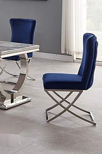 Bador Chesterfield Valencia - Sedia imbottita per sala da pranzo, in velluto, colore: Blu
