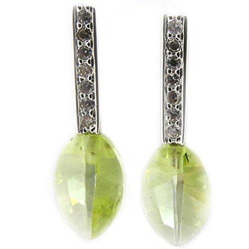 Pendientes plata 'Celestinas' claramente verde.