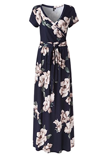 Kranda Womens Summer Vintage Floral Print Short Sleeve Maxi Long Dress