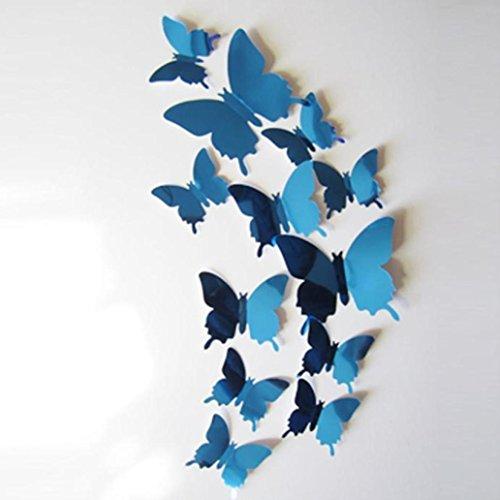 12 stickers Muraux, Eenkula Bricolage 3D Stickers Muraux Papillons Miroir Autocollants Muraux Amovibles Réutilisable Pour Réfrigérateur Salle chambre Salon (Bleu)