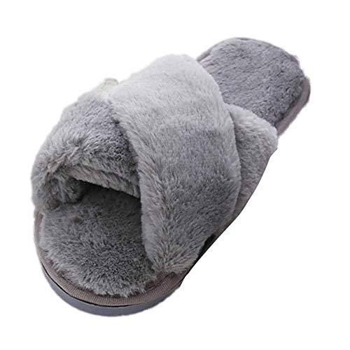 Pantofole da Donna Invernali, Modaworld Donna Ciabatte Pelliccia Slippers Sandali con Punta Aperta Pantofole Pelose Diapositive Fluffy Infradito