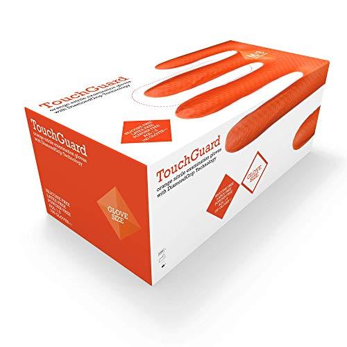 TouchGuard Einweg-Handschuhe, Orange, Nitril, Diamant-Struktur, ohne Puder, Box mit 100 Stück, Gr. XL