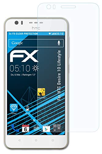 atFolix Schutzfolie kompatibel mit HTC Desire 10 Lifestyle Folie, ultraklare FX Bildschirmschutzfolie (3X)