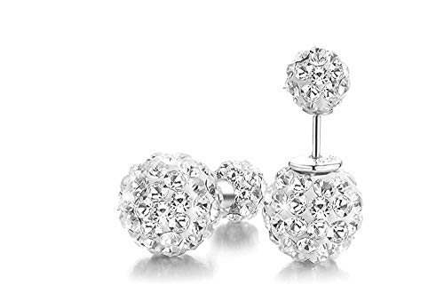 Sterling Silver Earrings For Women 6-10mm Silver Stud Earrings With Clear 5A Cubic Zirconia Gifts For Grlfriend Mum Sisiter Birthday Christmas Presents (10)