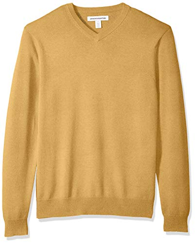 Amazon Essentials Men's V-Neck Sweater, Mustard Heather, Large