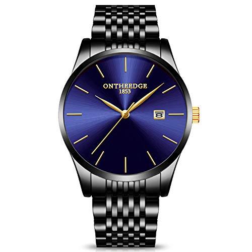 RORIOS Herren Edelstahl Dünn Uhren Analog Quarzuhr Business Fashion Kalender Metallarmband wasserdichte Multifunktion Männer Armbanduhr Uhr