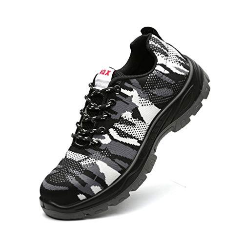 LXHK Herren Sicherheitsschuhe, Stahlkappe Arbeitsschuhe Luftdurchlässige Leichte Sportlich Anti-Smashing Rutschhemmend Schuhe Industrie und Handwerk, Tarnen,Camo,EU42