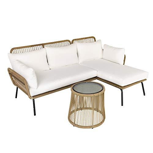 Outsunny Set 3 Pezzi Mobili da Giardino in Rattan, Divano 2 Posti con Chaise Longue e Tavolino, Beige e caffè
