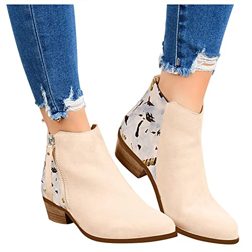 HLENLO Women's Zipper Non-Slip Booties Leopard Print Ankle Leather Round Toe Combat Shoes Square Heels Retro Short Booties Beige
