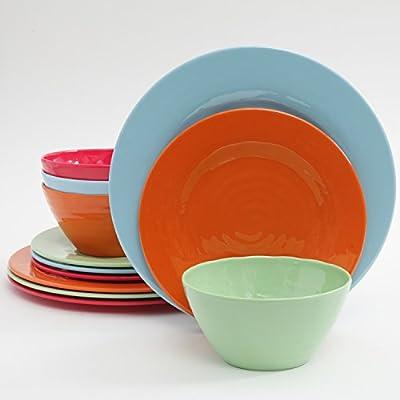 Gibson Home Brist 12 Piece Melamine Dinnerware Set, Assorted Colors
