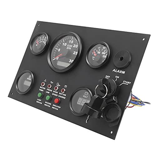 Annadue Panel de interruptores multifunción 12 V / 24 V con presión de Aceite de Trabajo Temperatura del Agua Medidor de Voltaje de Hora 2 USB y voltímetro para Coche Barco