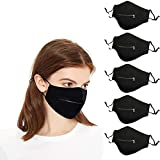 5 Pack Zipper Face_Mask with Open Hole for Drinking Musical Instruments Performance, Reusable Protective Adjustable Face_Mask with Nose Wire for Glasses Outdoor Bar Holiday Party