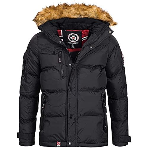Geographical Norway BONAP MEN - Men's Warm Padded Jacket - Men's Winter Warm Lined Coat Jacket - Long Sleeve Windbreaker Jacket - Quality Lightweight Fabric Padding NERO - M