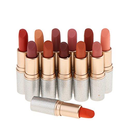 Sharplace 12 Farben Matt Lippenstift Lipgloss Set, 12pcs Lippenstifte Matte Lipstick Dauerhaft und Wasserdicht Make up Set