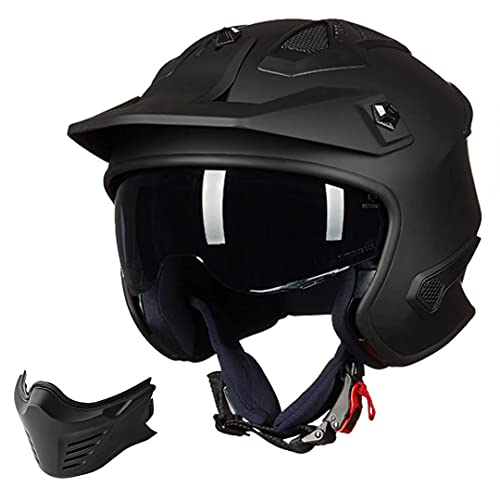 Auboa 3/4 Open Face Helmet Motorcycle Half Helmet Men Women with Chin Guard for ATV Motocross...