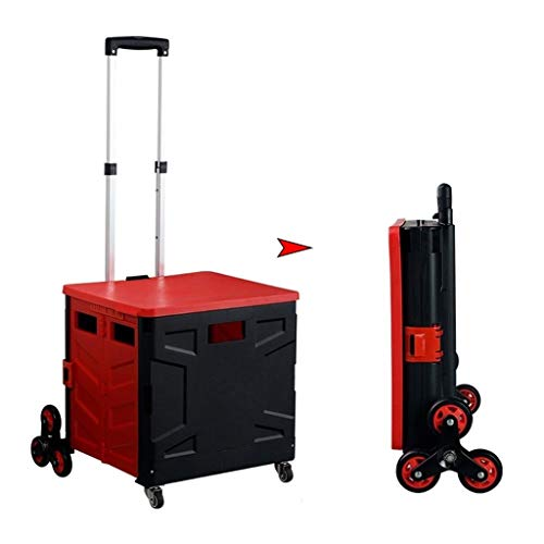 ZLQ Folding Shopping Cart, Red 8-wheels Portable Hand Cart Climb Stairs Trunk Pull Rod Cart, Non-slip Silent Stair Cart with Lid (Size : 42x46x102cm)