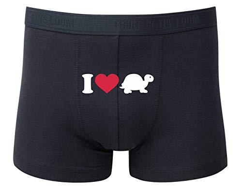 Druckerlebnis24 Boxershort - I Love Schildkröte Turtle - Unterhose für Herren und Männer