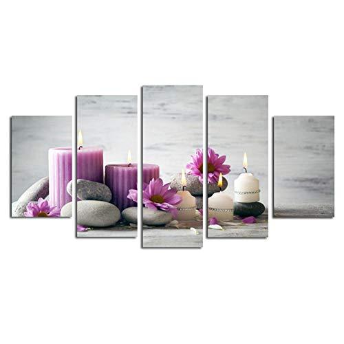 Swlyddm Impresión en lienzo 5 piezas moderna pintura al óleo impresión papel pintado no tejido salón dormitorio muebles – 200 x 100 cm / -78,8 x 39,4 sin marco – Vela lila