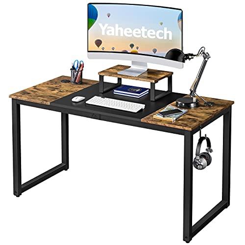Yaheetech Mesa Escritorio de Estilo Industrial 140x60x89cm Escritorios de Oficina con Soporte Monitor Madera Mesas para Ordenador