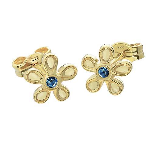 NKlaus Paar Ohrstecker Blüte 333 Gold gelbgold 8 Karat synt Spinell Ohrringe Blüme blau 2067