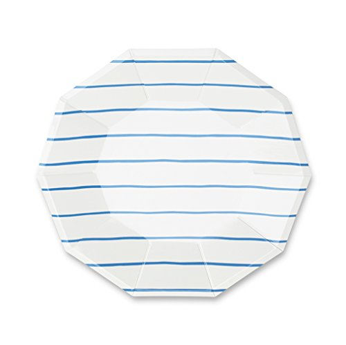 Daydream Society Frenchie Striped Large Paper Party Plates, Pack of 8, Cobalt Blue