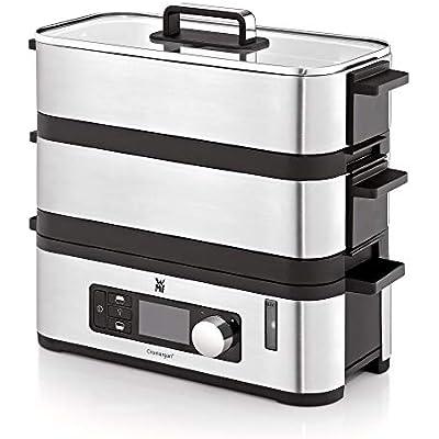 WMF Kitchenminis - Vaporera 900 W, 2 Zonas de Cocción y Función de Mantenimiento de la Calor, Acabados de Acero Inoxidable de Cromargan, Capacidad de hasta 4.3L y Depósito de Agua de 1.1L