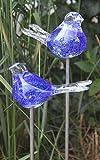 Bornhöft 2er Set Gartenstecker Glasvogel Deko Beetstecker Handarbeit Skulptur Vogel 2 (Blau)