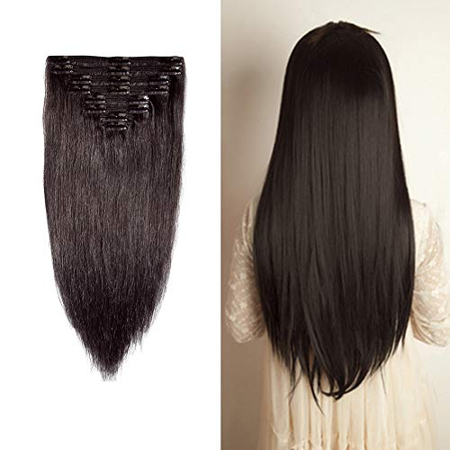 "Double Weft Clip in 100% Remy Human Hair Extensions #1B Off Black 10''-22'' Grade 7A Quality Full Head Thick Thickened Long Short Straight 8pcs 18clips for Women Beauty 12"" / 12 inch 110g"