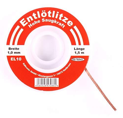 edi-tronic Entlötlitze 1mm - Hohe Saugfähigkeit - Spule Sauglitze Kupfer 1 mm
