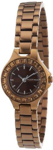 Pilgrim 701240503 - Reloj analógico de Cuarzo para Mujer con Correa de Acero Inoxidable, Color marrón