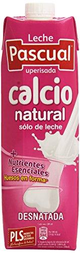 Leche Pascual - Calcio Leche Desnatada, Calcio natural 1 litro - Pack de 6 (Total 6 litros)