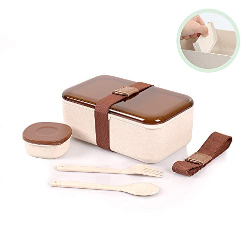 Bento Lunch Box 1100ML with 2 Compartments Natural Wheat Hermetic Eco-Friendly Food Container with Cutlery Set Reusable Leakproof Microwave & Dishwasher Safe for Adults Kids FDA Approved & BPA Free