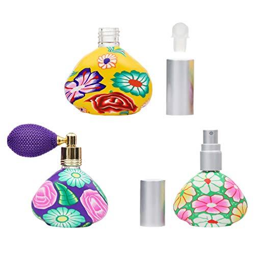 HEALLILY 3 Piezas de Botella de Perfume Vintage de Vidrio 13Ml con Bomba de Pulverización Botellas de Vidrio Recargables Herramienta de Maquillaje (Color Aleatorio)