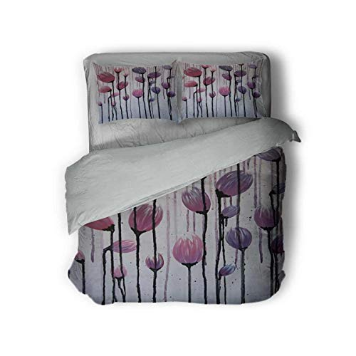 Luoiaax Abstract Flower Tulip Hotel Luxury Bed Linen Polyester - Soft and Breathable (Twin)
