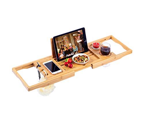 Utoplike Bamboo Bathtub Caddy Tray Bath Tray for Tub, Adjustable Bathroom Bathtub Organizer with Book Tablet Wine Glass Cup Towel Holder,Distinctive Gift (24.8'-37.4')