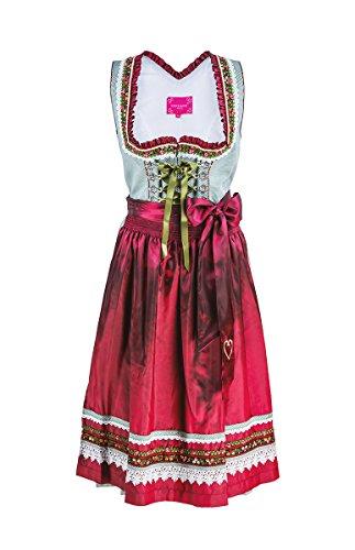 Krüger Dirndl Damen 41527 - Gr.32 - Trendig Modernes Trachtenkleid Grau-Rot-Grün Midi + Schürze für Oktoberfest + Volksfest + Maifest + Hochzeiten