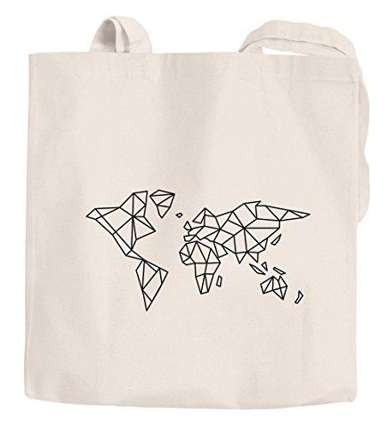 Jutebeutel Weltkarte World Map Low Polygon Baumwolltasche Stoffbeutel Einkaufstasche Autiga® natur 2 lange Henkel