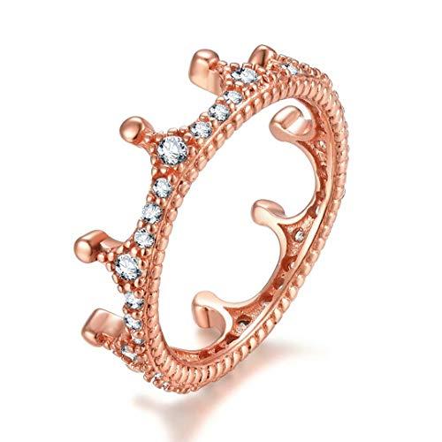 Presentski 925 Sterling Silber Rosé Gold Vergoldet Prinzessin Kronen Ring, Zirkonia Verlobung Ring für mädchen