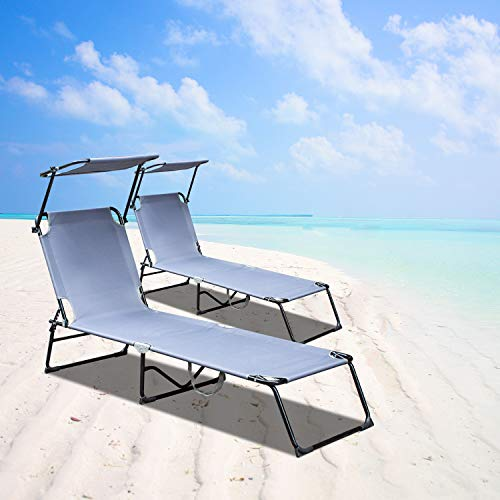 Wolketon 2x Sun Lounger, Adjustable Sun Shade, 4 Backrest Settings, Load Capacity 110 kg for Sunloungers Foldable Reclining Garden Chairs Sunbed, 189 x 55 x 27 cm, Outdoor Patio Terrace, Grey