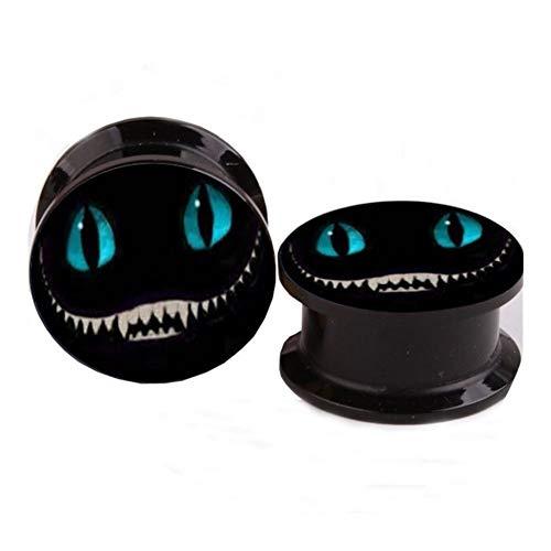 QWERBAM Oído Azul del Cráneo Esquelético De Nuevo del Punk Enchufes Túneles De La Carne De Tornillo Medidores De Oído Expansión Estirada Joyería Piercing del Cuerpo (Main Stone Color : 6MM)