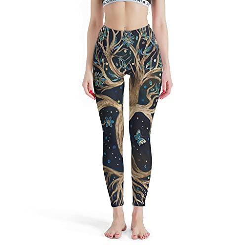 Vartanno Leggings Yggdrasil para mujer, diseño de árbol de la vida, para gimnasio, talla L, color blanco