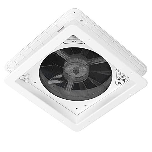 Yctze 13.4x13.4in Ventilador eléctrico de 2 vías de ventilación, ventilación de aire ABS con control remoto para el baño del autobús de la caravana RV(Eléctrico 24V con mando a distancia 0100332)